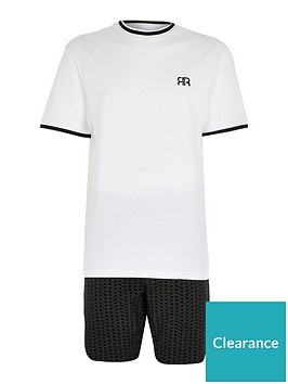 river-island-white-tipped-tee-and-mono-shorts-set