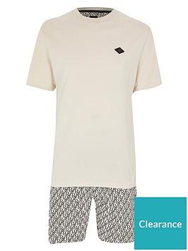 river-island-badge-t-shirt-and-shorts-set-stone