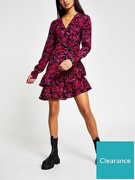 river-island-printed-wrap-mini-dress-red