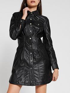 river-island-leather-shirt-dress-black