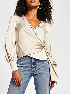river-island-wrap-long-sleeve-tie-top-stone
