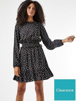 dorothy-perkins-shirred-waist-spot-woven-mini-dress-black