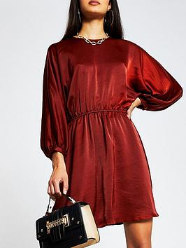 river-island-casual-drawstring-dress-red