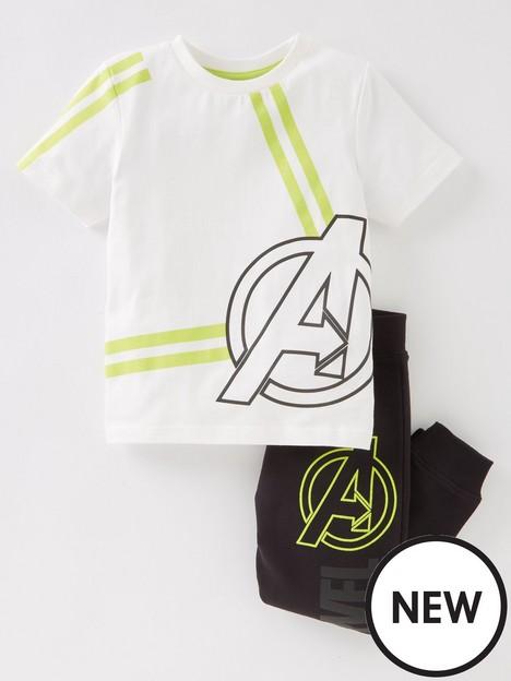 nerf-boysnbsp2-piece-marvel-logo-short-sleevenbspt-shirtnbspand-joggers-set-white