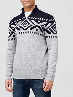 burton-menswear-london-patterned-half-zip-knitted-jumper-navy