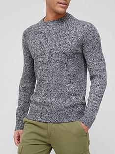 burton-menswear-london-salt-and-pepper-crew-neck-jumper-grey