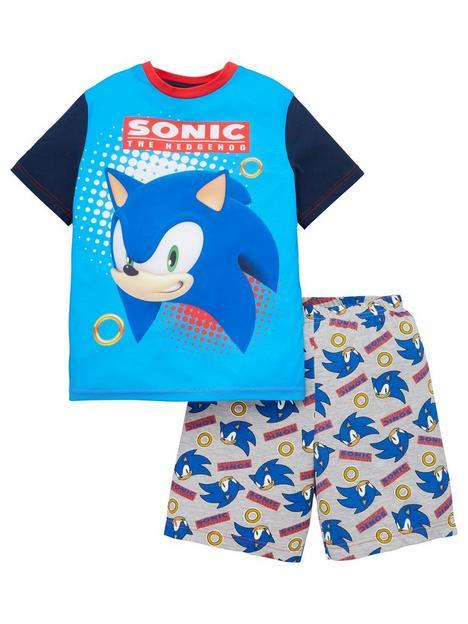 sonic-the-hedgehog-boysnbspcontrast-sleeve-shorty-pjs-blue