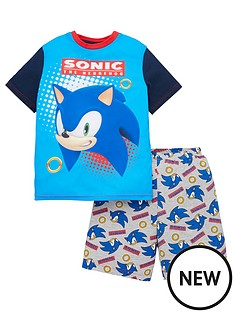 sonic-the-hedgehog-boysnbspcontrast-sleeve-shorty-pjs-blue