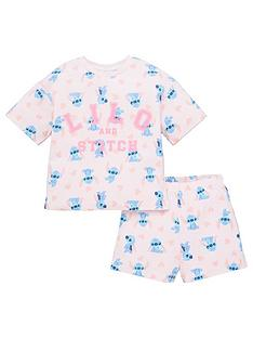 lilo-stitch-girlsnbspall-over-print-shorty-pjs-pink