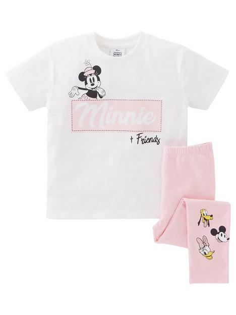 minnie-mouse-girls-disney-minnie-mouse-2-piece-badges-t-shirt-and-legging-set-whitenbsp