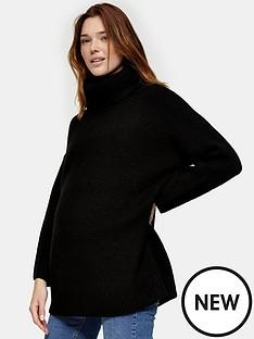 topshop-maternitynbspoversized-roll-jumper-black