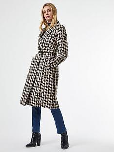 dorothy-perkins-belted-wrap-dogtooth-coat--nbspwhiteblack