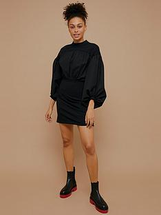 topshop-urban-poplin-jersey-mix-mini-dress-black