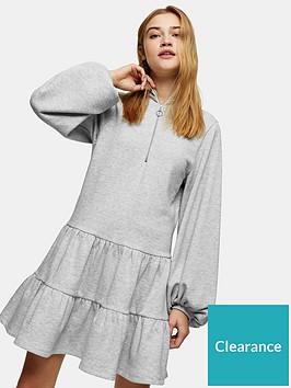 topshop-zip-up-jersey-tier-mini-dress-grey