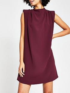 river-island-shoulder-pad-high-neck-mini-dress-burgundy