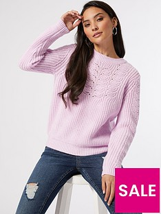 prod1090045013: Petite Sustainable Pointelle Cable Jumper - Lilac