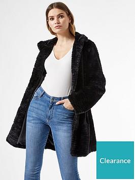 dorothy-perkins-funnel-collar-textured-longline-faux-fur-coat-blacknbsp