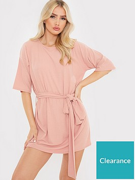 in-the-style-in-the-style-brushed-rib-tie-waist-t-shirt-dress-blush