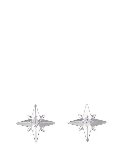 the-love-silver-collection-sterling-silver-cubic-zirconia-north-star-stud-earrings