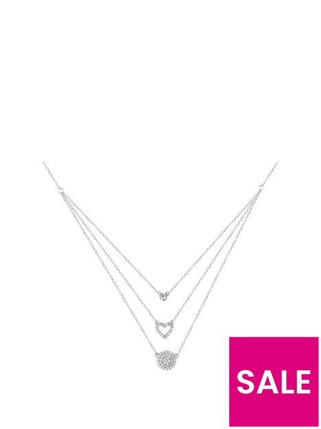 the-love-silver-collection-sterling-silver-triple-chain-cubic-zirconia-heart-and-disc-necklace