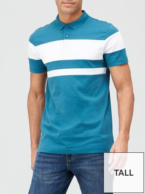 very-man-tall-colour-block-polo-shirt-blue