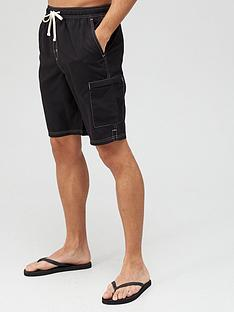 very-man-contrast-stitch-longer-swim-shorts-black