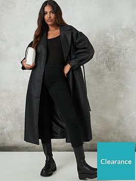 missguided-missguided-pu-belted-balloon-sleeve-trench-black