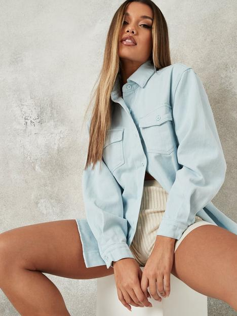 missguided-missguided-pale-wash-denim-shirt-co-ord-blue