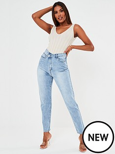 missguided-missguided-riot-high-waisted-asymmetric-fasten-jeans-blue