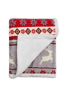 cascade-home-christmas-stag-stripe-throw