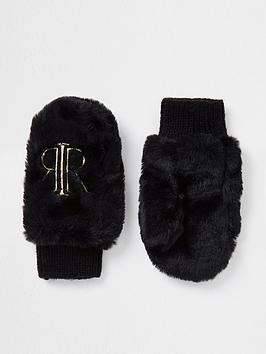 river-island-mini-girls-ri-faux-fur-mittens-black