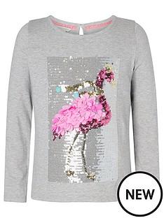 monsoon-girls-christmas-flamingo-top-grey