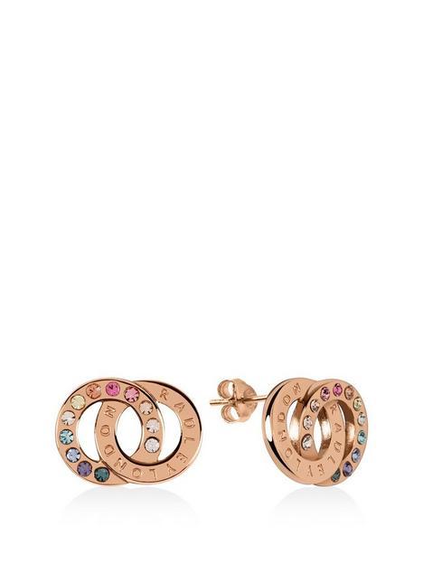 radley-radley-rose-gold-plated-sterling-silver-rainbow-crystal-double-hoop-stud-ladies-earrings