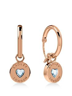 radley-radley-rose-gold-plated-sterling-silver-crystal-heart-huggie-ladies-earrings