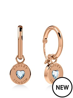 radley-radley-rose-gold-plated-sterling-silver-crystal-heart-huggie-ladies-earrings