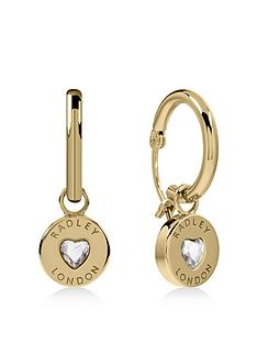 radley-gold-plated-sterling-silver-crystal-heart-huggie-ladies-earrings