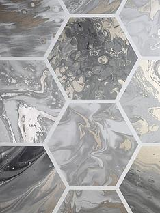 arthouse-marbled-hexagon-charcoal-rose-gold-wallpaper