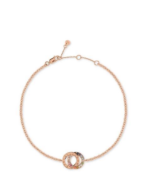 radley-rose-gold-plated-sterling-silver-rainbow-crystal-double-hoop-ladies-bracelet