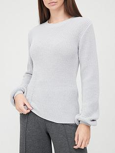 v-by-very-crew-neck-ruched-detail-jumper-grey