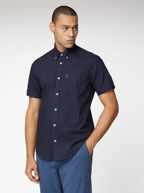 ben-sherman-short-sleeve-signature-oxford-shirt-navy