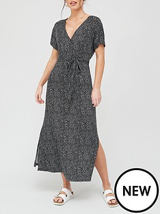 v-by-very-jersey-wrap-midi-dress-black-spot