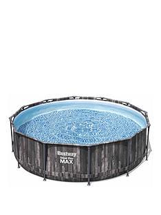 bestway-12ft-wood-effect-pool-set