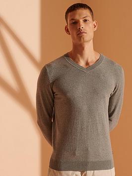 superdry-orange-label-v-neck-jumper-grey-marl