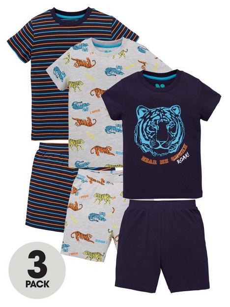 mini-v-by-very-boys-3-pack-tiger-pyjamanbspset-navy