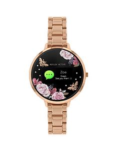 reflex-active-reflex-active-series-3-smart-watch-with-black-floral-detail-colour-screen-crown-navigation-and-rose-gold-stainless-steel-bracelet-strap