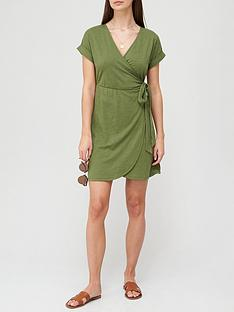 v-by-very-jersey-wrap-mini-dress-khakinbsp