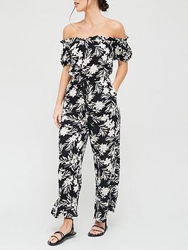 v-by-very-beach-crinkle-bardot-jumpsuit-monochrome-print