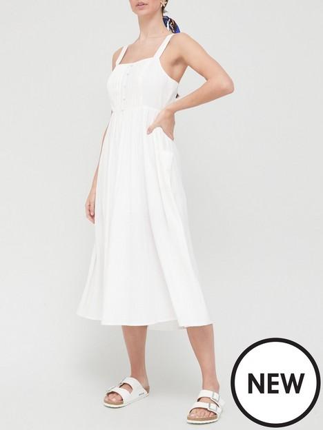 v-by-very-button-detail-pintuck-midi-dress-white