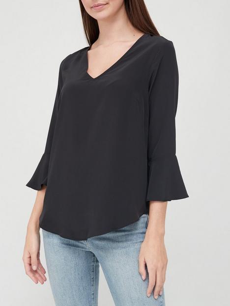v-by-very-value-frill-sleeve-round-hemnbspshell-top-black