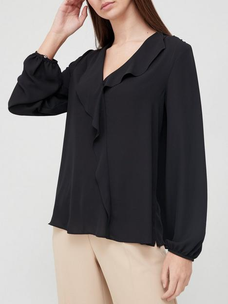 v-by-very-open-collar-frill-blouse-black